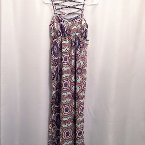 Women's colorful pattern maxi dress cage back